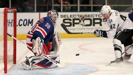 Goalie Henrik Lundqvist #30 of the New York