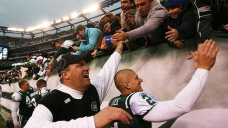 Jets head coach Rex Ryan and Nick Folk