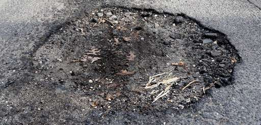 A pothole in Northport on Jan. 4.