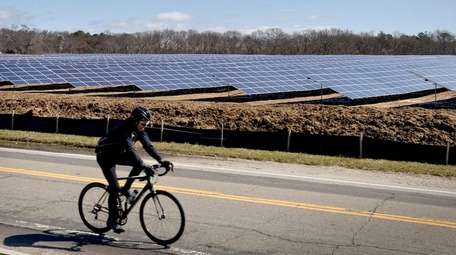 A bicyclist rides past the solar farm in