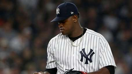 Luis Severino of the Yankees stands on the