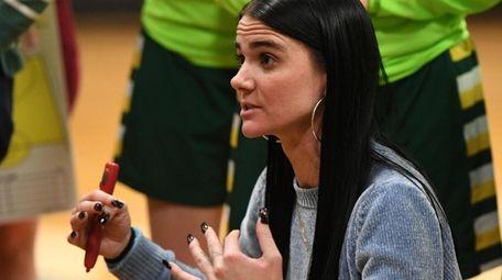 Ward Melville head coach Samantha Prahalis directs her