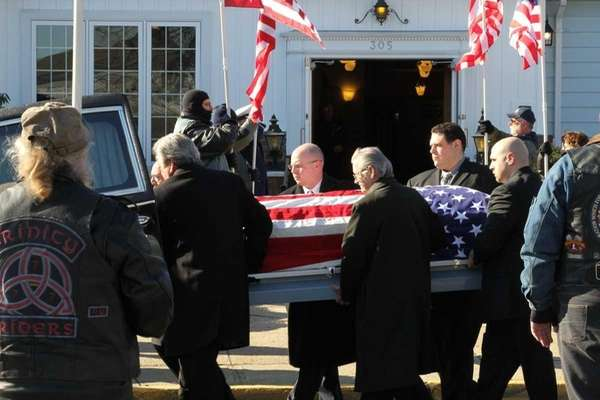 The coffin of Army Sgt. Bill McKenna is