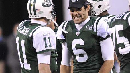 Jets quarterback Mark Sanchez smiles at the fourth