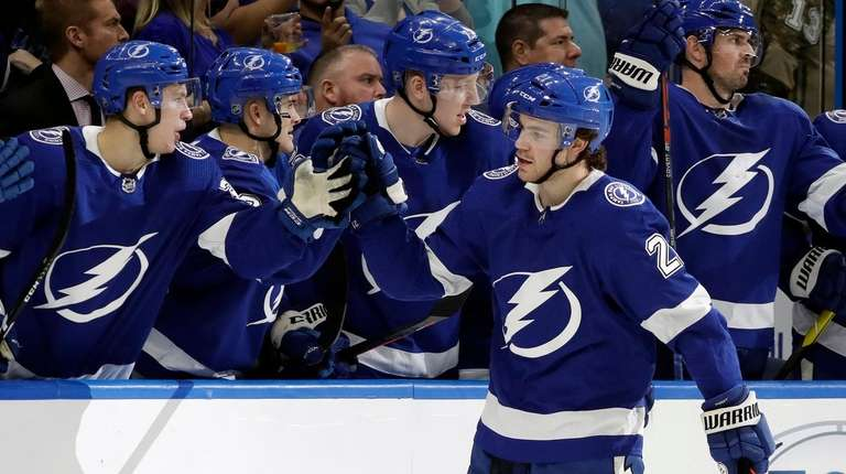 Tampa Bay Lightning center Brayden Point celebrates with