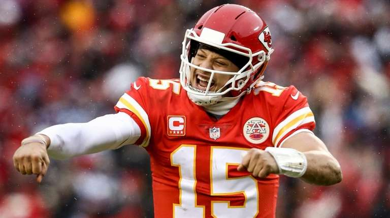 Patrick Mahomes of the Kansas City Chiefs points