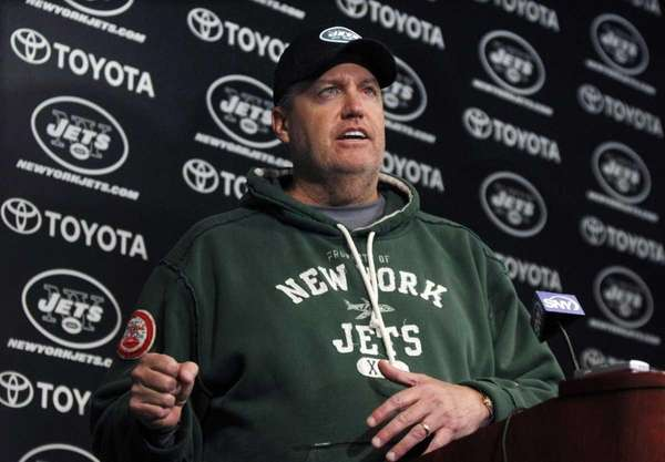 New York Jets coach Rex Ryan answers a