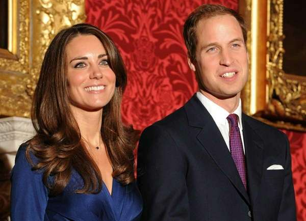 Britain's Prince William (R) and his fiancee