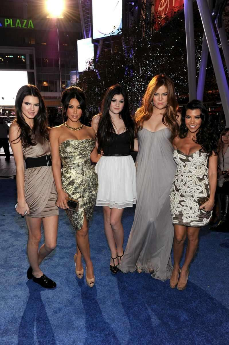 From left, Kendall Jenner, Kim Kardashian, Kylie Jenner,