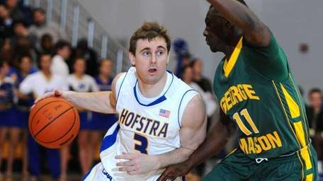 Hofstra University guard #3 Brad Kelleher, left, gets