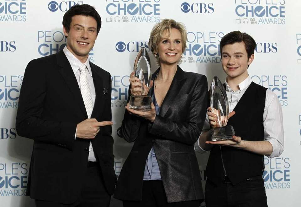 From left, Cory Monteith, Jane Lynch, and Chris