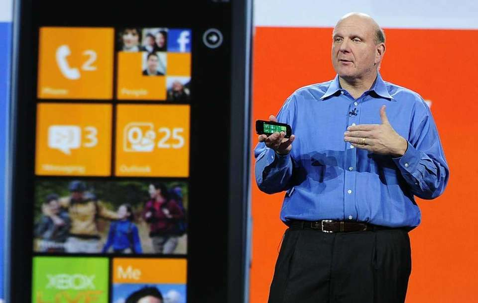 Microsoft CEO Steve Ballmer with a Windows Phone