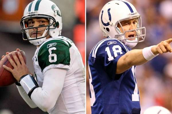 Mark Sanchez (left) of the Jets and Peyton