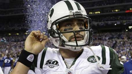 Mark Sanchez reacts after the Jets' loss to