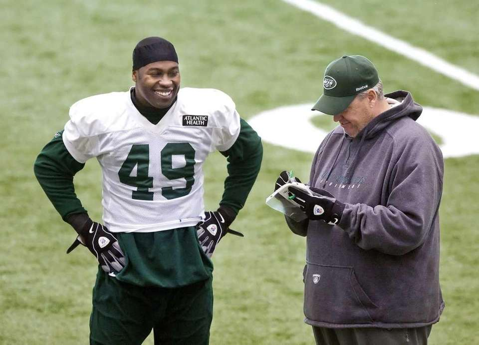 Jets fullback Tony Richardson shares a laugh with