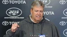 Jets head coach Rex Ryan speaks to the