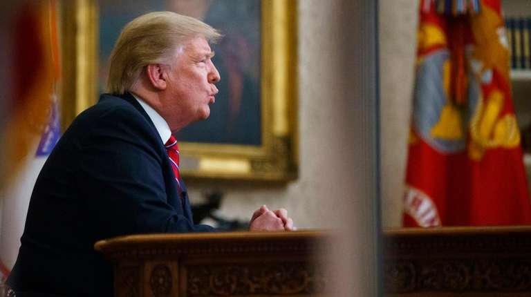 President Donald Trump gives a prime-time address about