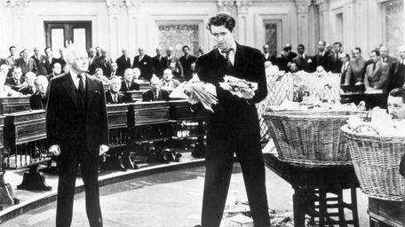 Jimmy Stewart as a filibustering senator in 1939's