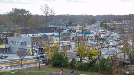 A rooftop view of downtown Riverhead from the