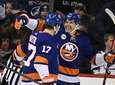 Islanders center Casey Cizikas, center, celebrates his goal