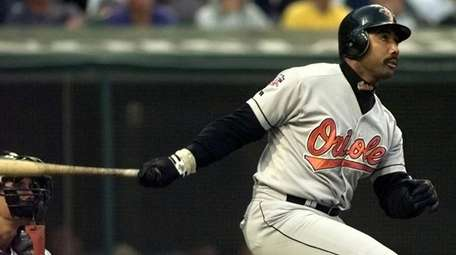 Baltimore Orioles DH Harold Baines on, Sept. 8,