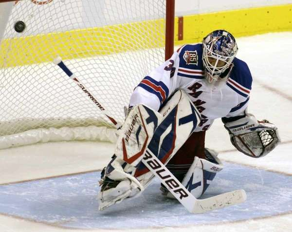 New York Rangers' goalie Henrik Lundqvist (30) makes