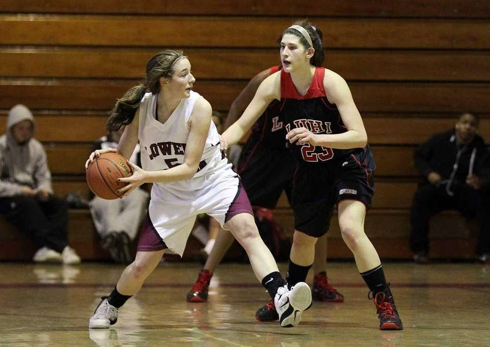 Yuni Sher of Long Island Lutheran defends against