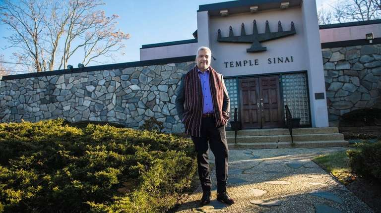 Louis Guzman, 60, outside his congregation, Temple Sinai