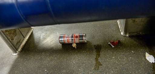 Trash on a rush-hour LIRR train on the