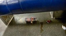 Trash on a rush-hour LIRR train on the