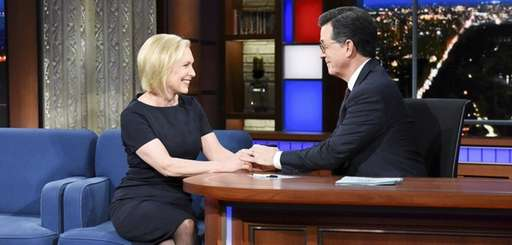 Sen. Kirsten Gillibrand and Stephen Colbert during Tuesday's