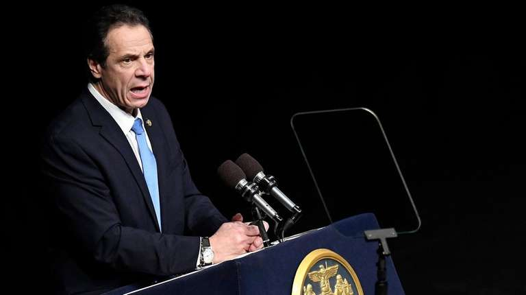 New York Gov. Andrew M. Cuomo delivers his
