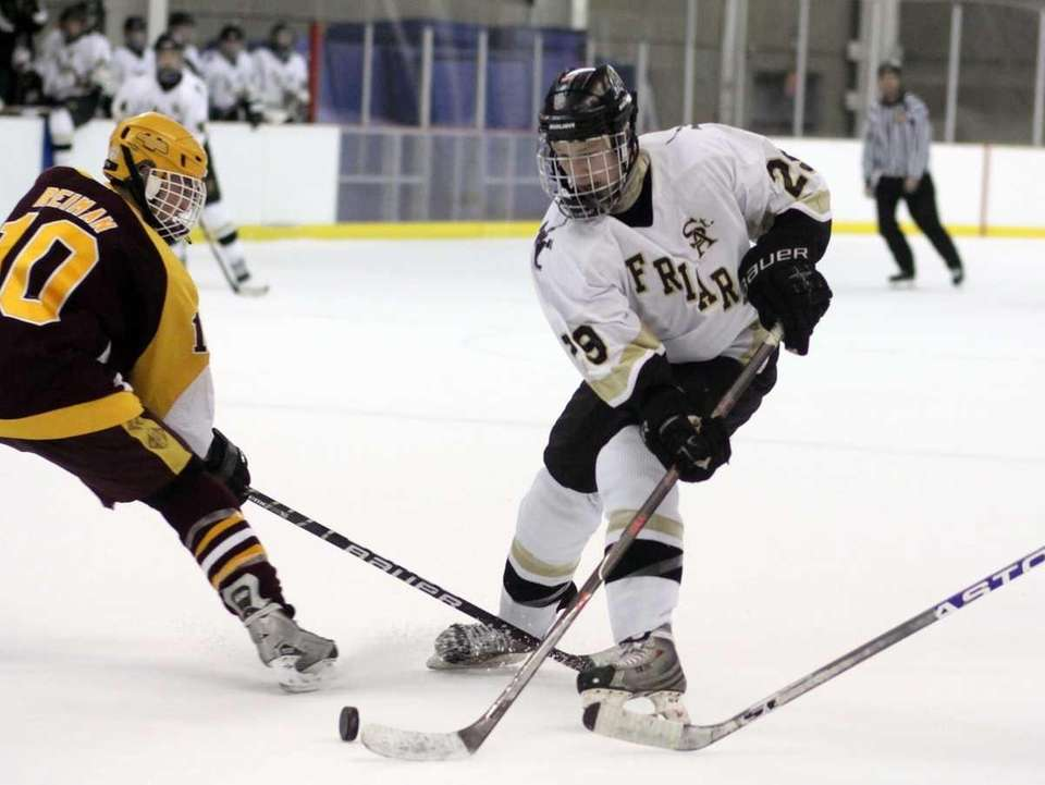 St. Anthony's Nick Mazza carries the puck deep