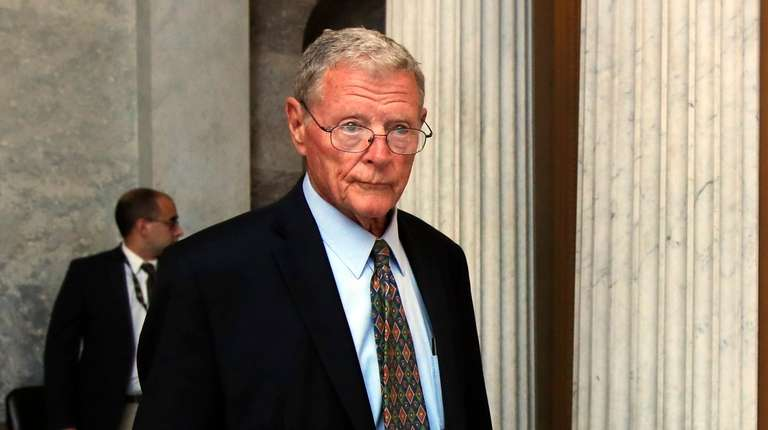 Sen. James Inhofe, R-Okla., leaves the Senate floor