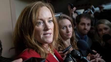 Rep. Kathleen Rice in the basement of the
