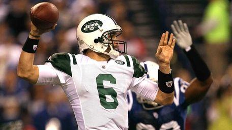 Quarterback Mark Sanchez throws a pass against the