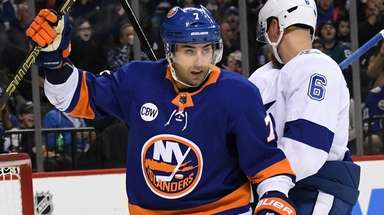 Islanders right wing Jordan Eberle reacts after center