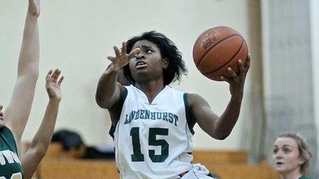 Lindenhurst forward Valerie Oyakhilome #15 moves to the