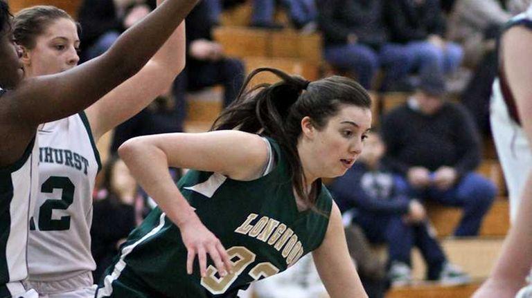Longwood forward Jessica Kalbfliesch #33 tries to move