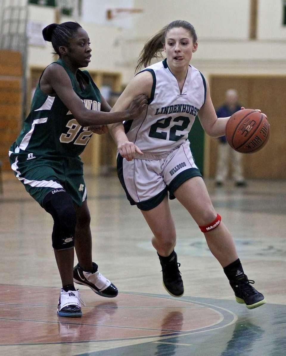 Lindenhurst guard Colleen Ames #22 moves the ball