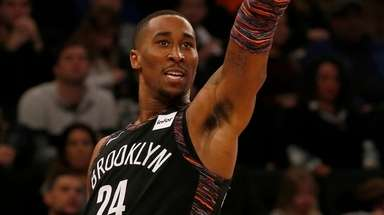 Rondae Hollis-Jefferson of the Nets follows through on