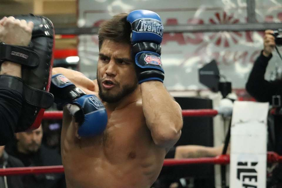 UFC flyweight champion Henry Cejudo works out at