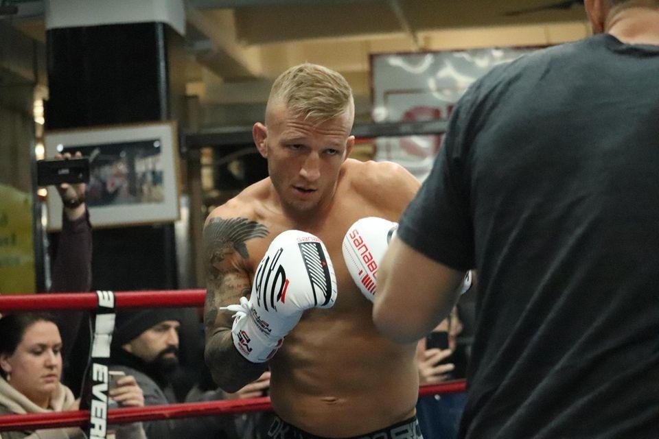 UFC bantamweight champion TJ Dillashaw works out at