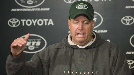 New York Jets coach Rex Ryan talks to