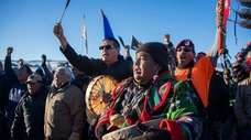 Activists celebrate near the Standing Rock Sioux Reservation