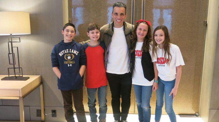 Comedian Sebastian Maniscalco with Kidsday reporters Matthew Wengatz,