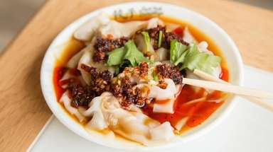 Hot chili wontons at Yum Yum Dumplings in