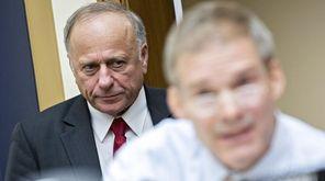 Representative Steve King, a Republican from Iowa, listens