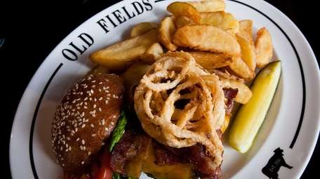 The Greenlawn burger at Old Fields restaurant in