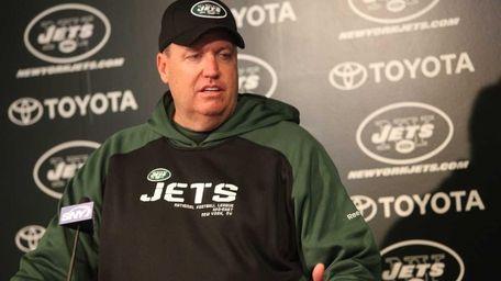 Jets head coach Rex Ryan talks to media